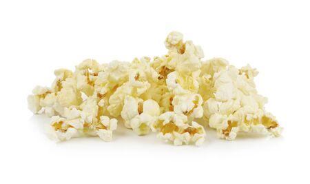 popcorn: Palomitas de ma?z aislado en el fondo blanco
