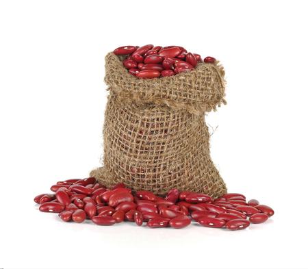 gunny bag: red kidney bean in gunny bag on white background