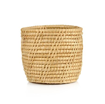 the basket: vintage weave wicker basket isolated on white background Stock Photo