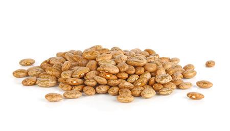roman beans: Pinto-beans, isolated on white background Stock Photo