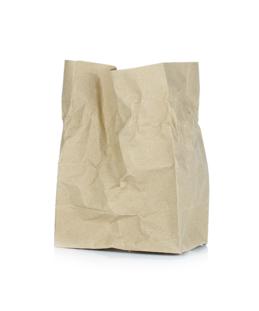 brown paper bag: Brown Paper Bag Isolated on a White Background.