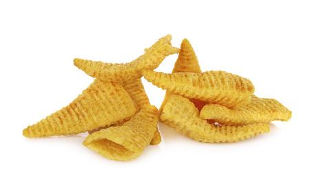 crunchy: Crunchy corn snacks on a white background Stock Photo