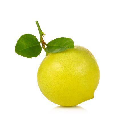 orange peel: Lemon with leaf isolated on white Stock Photo