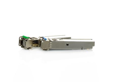 Optical gigabit sfp modules for network switch on white background Stock Photo