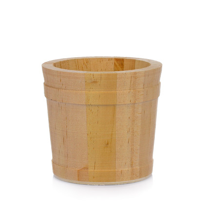 Wooden bucket isolated on white background Banco de Imagens - 91789611