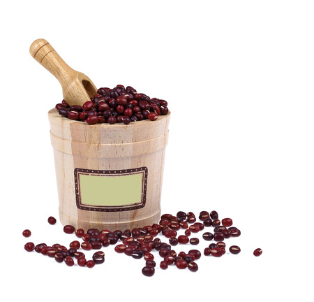 azuki beans on white background