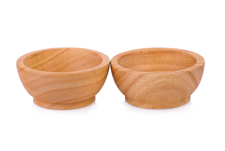 wooden bowl isolate on white background