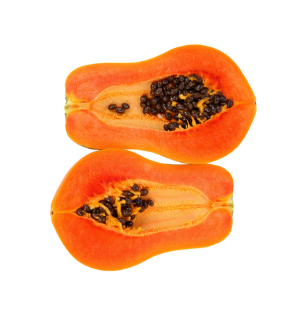 slices of sweet papaya isolate on white background