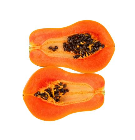 slices of sweet papaya isolate on white background