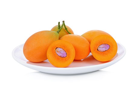 sweet Marian plum thai fruit on white background (Mayongchid Maprang Marian Plum and Plum Mango,Thailand)