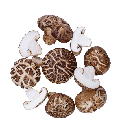 Fresh Shiitake mushroom on white background 写真素材