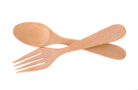 Wood spoon and fork isolated on white background 写真素材 - 105601904