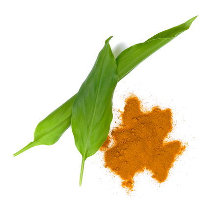 Turmeric powder isolated on white background.top view 写真素材 - 110576616