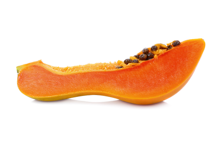 slice papaya on white background 写真素材