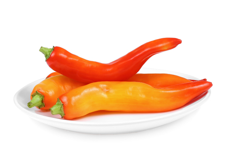 Orange chili pepper isolate on white background