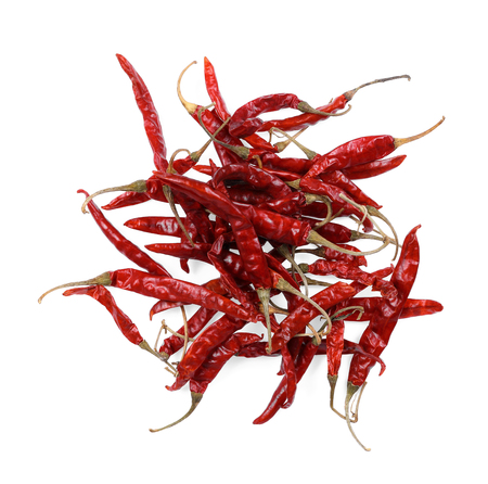 Dried red chili peppers isolated on white background 写真素材
