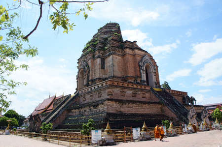 ruinous: Ruinous big pagoda at Wat Jedi Laung in present year, 2015