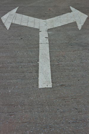 Traffic signs on the road surface