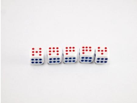 Happy that we build on the dice Stock Photo