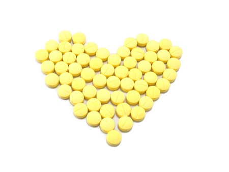 Arranged in a heart-shaped tablets