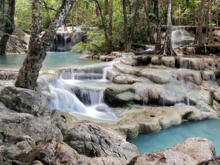waterfall Kanchanaburi in thailand photo