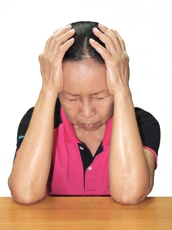 The elderly Are stressed Stock Photo