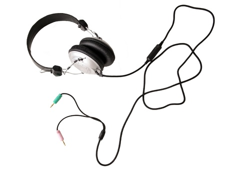 The headphones on white background photo