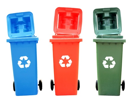 Colorful Recycle Bins Isolated With Recycle Sign For Green World Concept photo