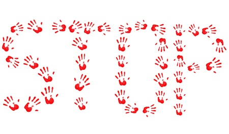 abstract Stop hand prints background photo