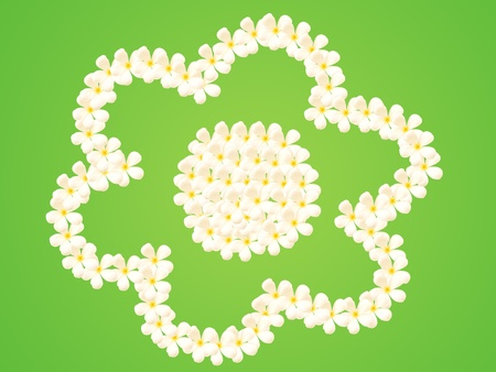created in flower shape on green background photo