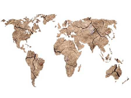 World map Shape on Soil Background photo