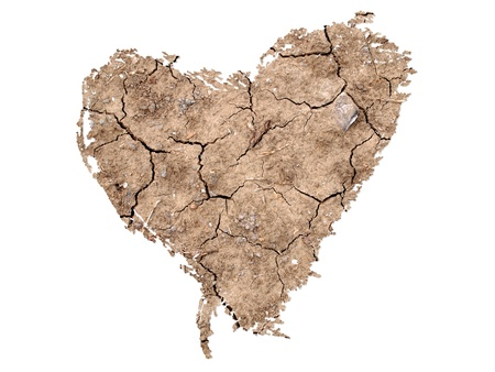Heart Shape on Soil Background Stock Photo