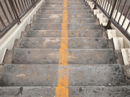 Old stairs of the overpass in the city photo