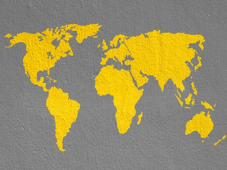 world map on brown cement wall