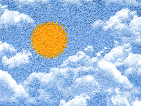 sun and clouds paint shape form on cement wall photo