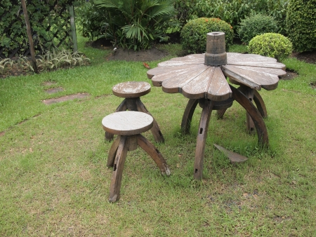 Wooden Lawn Chairs In The Garden Photo
