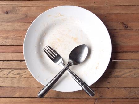 eaten: overhead shot of an empty dish  Stock Photo