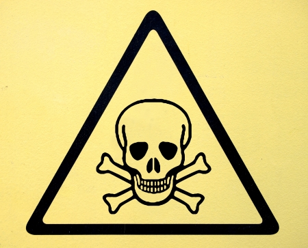 toxic substance: danger sign with skull symbol  Stock Photo