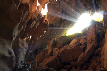 Sun beam in cave photo