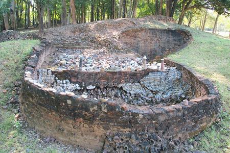 kiln: Old pottery kiln and pot of thailand