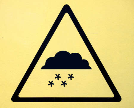 Photo realistic reflective metallic snow warning sign photo