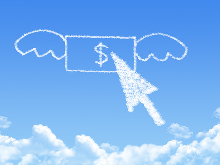 Money fly on Cloud shaped ,dream concept Stock Photo