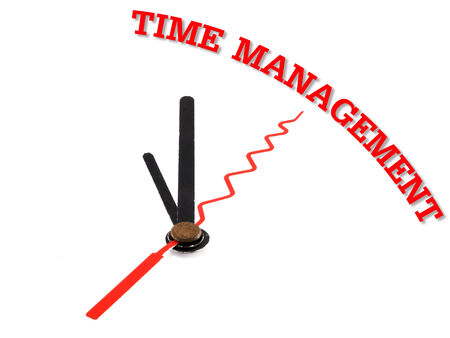 time management concept clock closeup isolated on white background photo