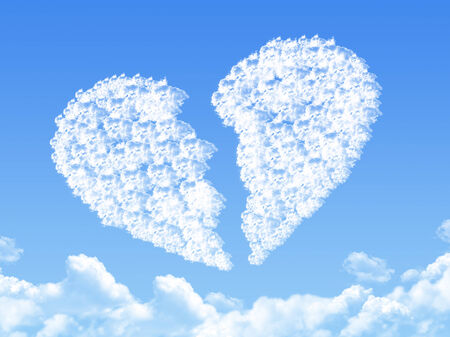 broken up: Cloud shaped as broken heart