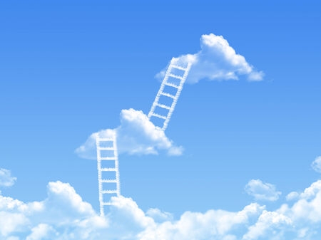 cloud stair, the way to success in blue sky  photo