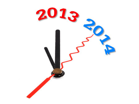 new year concept clock closeup on whte background photo