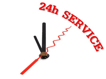 aftersales: clock with red text 24h Service
