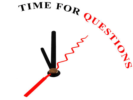 inquiry: White clock with words Time for Questions on its face Stock Photo