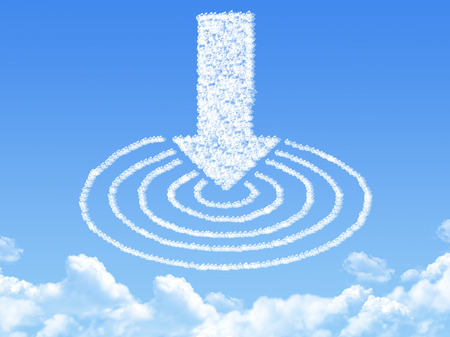 winning location: arrow and target shaped cloud Stock Photo