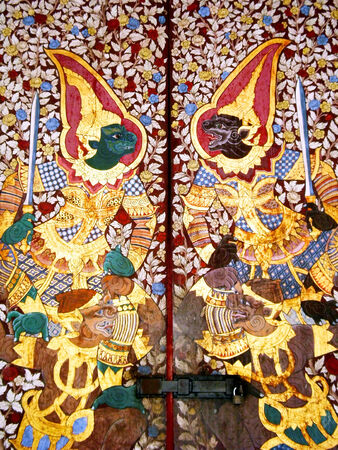 exquisite fairy: BANGKOK, THAILAND - JANUARY 4 : Traditional Thai painting art about Ramayana story on display at the temple wall Wat Suthat on January 4, 2012 in Bangkok, Thailand